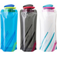 3 Colors Foldable Water Bottle Bag 700ML Environmental Protection Collapsible Portable Water Bag Sports Water Bottle for Hiking