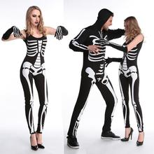 Free shipping Halloween Carnival Party Costume Men Game Performance Black Clothing Adult Terror Skeleton Costumes With Gloves