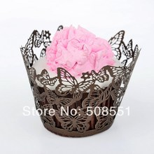 Free shipping Butterfly Paper decoration Cake cups for wedding party birthday,  Dark brown Cupcake wrappers