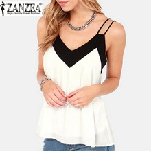 Buy ZANZEA 2016 Summer Style Women Blusas Sexy V Neck Casual Sleeveless Halter Blouse Shirts Loose Chiffon Tank Tops Vest Plus Size