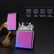 USB Lighter Electronic Cigarette Accessories Torch Lighter Pulsed Arc Lighter Windproof Thunder Metal Plasma Cigar Lighter(China)