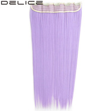 "[DELICE] 24"" 130g 5 Clips One Piece Women's Long Silky Straight Clip In Synthetic Hair Extensions Pure Color"