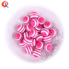 Free Shipping 250pcs 16mm Hot Pink Colored Color Resin Stripe Beads For Jewelry Making For Ebay Suppliers CDWB-517874