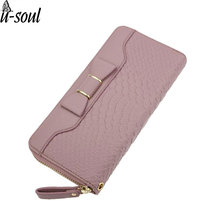 Women Wallet Lady Long Wallets Purse Female Candy Color Bow PU Leather Carteira Feminina for Coin Card Clutch Bag SC0480
