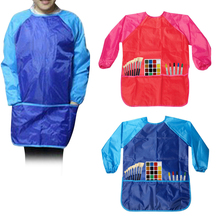 Kids Waterproof Painting Apron Long Sleeve Drawing Kitchen Cooking Baking Smock 3-8 Years Old Artist