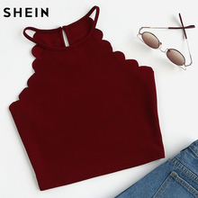 SHEIN Scallop Trim Halter Top Summer Camisole Women Tops Burgundy Sexy Tops for Womens Vest Top Sleeveless Cami Top(China)