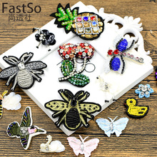 FastSo 1 Pcs Diamond bee hat decoration Big Patches Brand Sequin Embroidery Motif Applique Garment Kids Women DIY Clothes Badge
