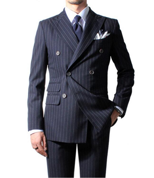 2019 Chalk Stripe Men Suit Custom Made Navy Blue Mens Striped Suit Tailored Double Breasted Men Suits With Ticket Pocket