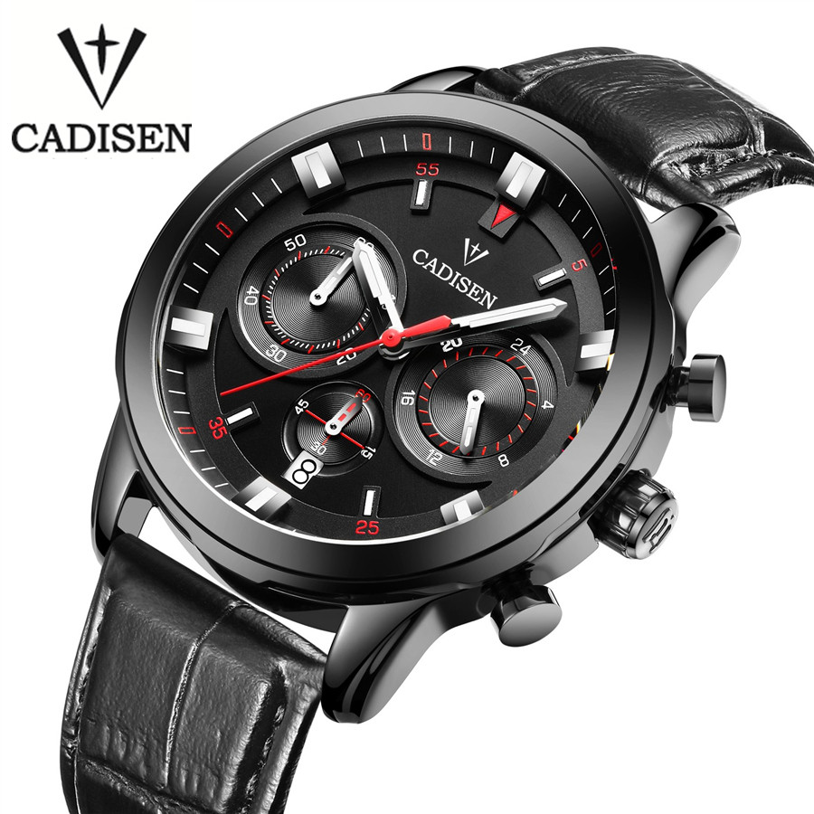 Cadisen 2017 Mens Watches Top Brand Luxury Calendar 3Atm Sport Watch For Men Clock Leather Quqrtz Watch Male relogio masculino<br>