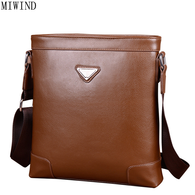 MIWIND Men Bag PU Leather Messenger Bag Male Vertical Black Business Crossbody Bag Classic Zipper Casual Shoulder Bag TQH081<br>