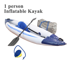 1 person single inflatable boat sport kayak canoe 300*90cm aluminium paddle oar foot pump carry bag fin seat