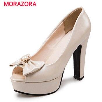 Morazora tamanho grande 34-48 verão 2017 de salto alto sapatos de peep sapatos de casamento do dedo do pé doces mulheres rasas bombas plataforma tamanho grande sapatos