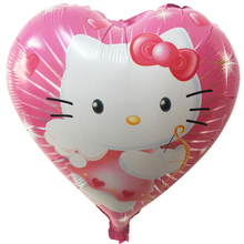 18-inch Lovely Cartoon Hello Kitty Printed Pink Heart Balloon for Birthday Party Decoration Wedding Decor Children Girl Gifts