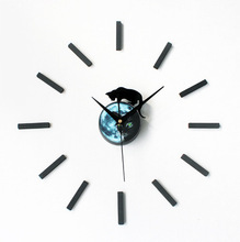 New Arrival Mysterious Cat Design sticker EVA 30CM-60CM kitchen wall clock large decorative 3d diy wall clock big clock