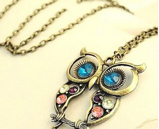 Fashion lovely vintage Colorful Cute OWL necklace !!--Fashion women SHOP shenzhen free drop shipping(China (Mainland))