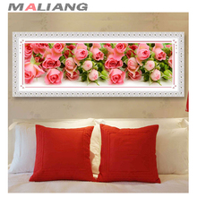 Crystal 3D diy diamond painting cross stitch diamond embroidery mosaic full square rhinestone pink rose picture handwork