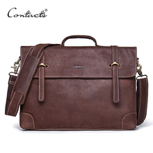 CONTACT'S Vintage Crossbody Bag Genuine Crazy Horse Cowhide Leather Shoulder Bags Men Messenger Bag Men Leather Tote Briefcase
