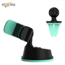 KISSCASE Car Phone Holder For iPhone Samsung Xiaomi Car-styling Windshield Center Panel Air Vent Outlet GPS Phone Holder Stand(China)