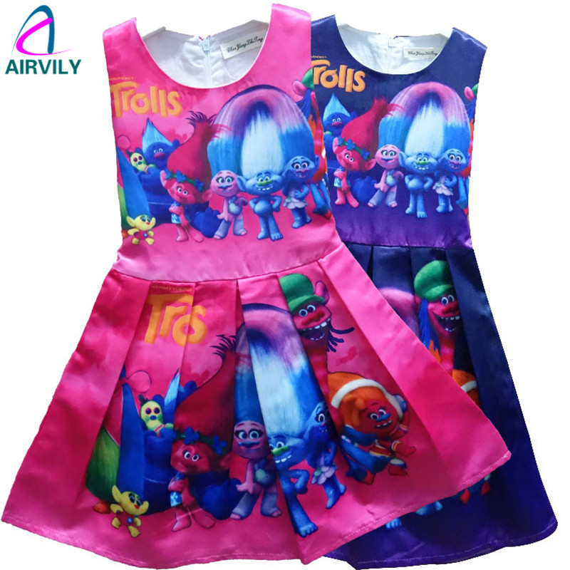 2017 kids dress Trolls girls dresses for 3-9Y Magic summer high-end european girls party dress baby boutique clothes<br><br>Aliexpress