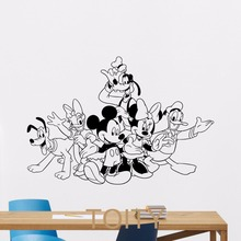Mickey Minnie Mouse Donald Goofy Pluto Wall Sticker Cartoon Vinyl Decal Home Kids Nursery Room Interior Decor Children Art Mural(China)