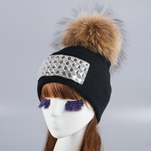 women girl fur pompom winter hat cap knitted crochet thick thermal wool ball beanie hats white black large mink fox pom skullies