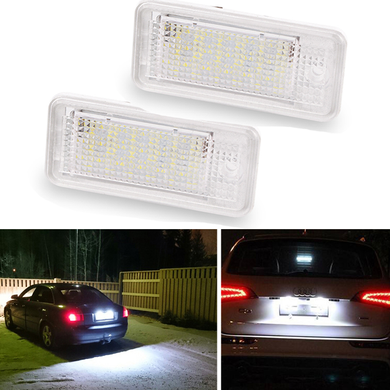 2Pcs White 3W 18 SMD Led Number License Plate Light Led Bulb Number Plate For Audi A4 A6 C6 A3 S3 S4 B6 B7 S6 A8 S8 Rs4 Rs6 Q7(China)