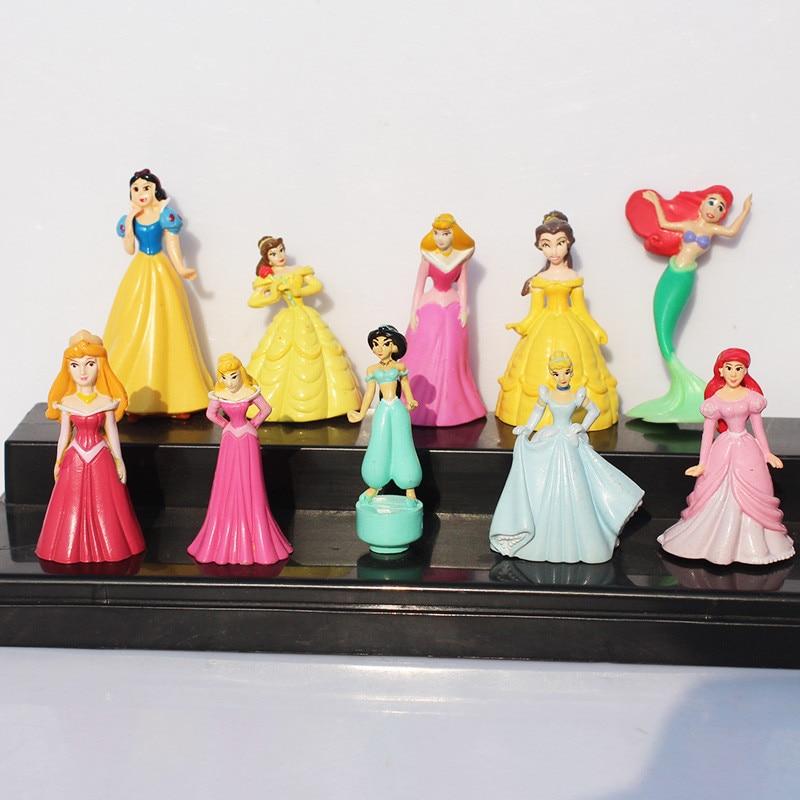 10pcs/set Princess figures mermaid Snow white Bella Ariel Jasmine Cinderella Rapunzel PVC Figure Toys Free Shipping<br><br>Aliexpress