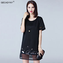 GECADYNY Large size 5XL dress women summer 2017 new women's women fat fashion hollow chiffon short sleeve dress A-Line dress