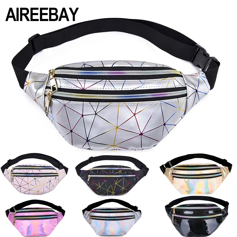 AIREEBAY Holographic Waist Bags Women Silver Fanny Pack Female Belt Bag Black Geometric Waist Packs Laser Chest Phone Pouch