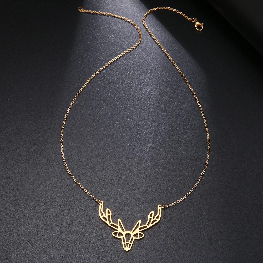 Cacana Stainless Steel Necklace Origami Deer Charm Necklace Women Boho Antler Horn Animal Christmas Jewelry Everyday Gift (2)