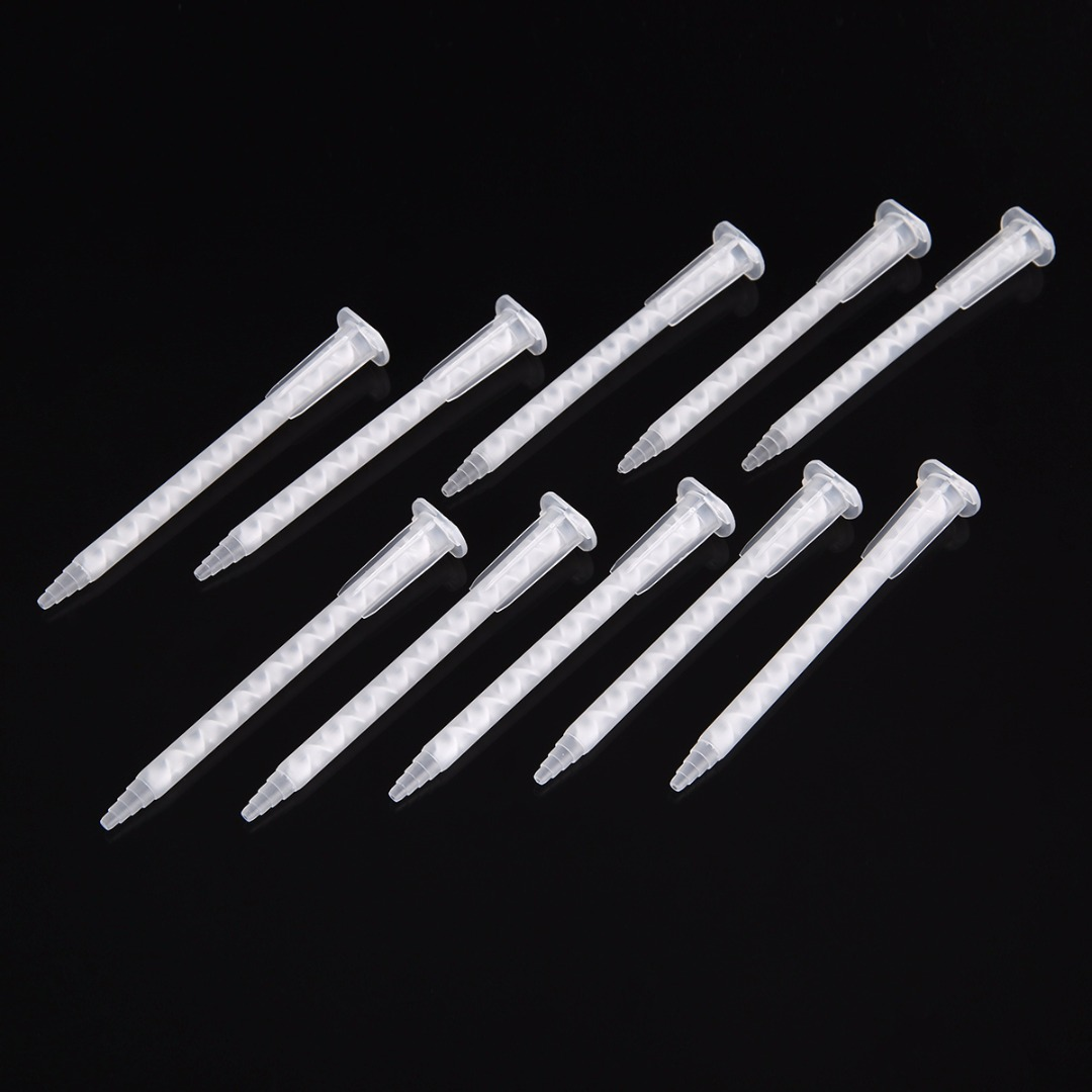 50pcs MA5.4-17S PP Static Mixer Mixing Nozzle AB Plastic Mixed Glue Nozzle 103.6mm for Epoxy Resin Adhesive Tool 50ml