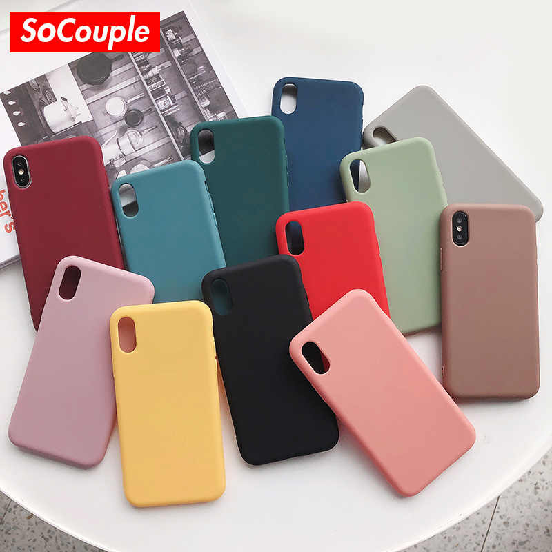 SoCouple Candy Color Soft Silicone Phone Case For iphone X XS Max XR Case For iphone 7 8 6 6s Plus Solid Color TPU Back Cover