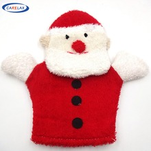 Christmas Santa Lovely Bath Gloves Blister towel Body Scrub Pure Cotton For Children Toy Without Stimulation