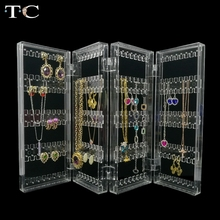 Clear Acrylic Jewelry Display earring pendant holder jewelry organizer Earring Necklace organizer holds up 128 pairs of earrings