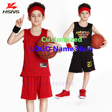 Boy Reversible Basketball Set Custom LOGO Name Number Jerseys Short Children Double-sided Suit Sport Training Uniforms Breathble