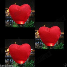 10Pcs Red Heart-shaped Chinese Kongming  Lanterns Flying Sky Balloon Wishing Lamp Wedding Birthday Party Festival Supplies