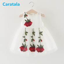 Caratala 3 Colors Children's Clothing  Cute Embroidery Rose Princess Dress Baby Girls Costumes