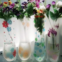 2Pcs Hot Sale Home Decor Plastic Unbreakable Foldable Reusable Vase Flower Random color pattern Wholesale(China)