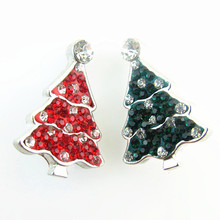 Free shipping! 10pcs/lot Christmas Tree Snap Button Jewelry mix red and green Crystal charm fit 18mm Snap Button Jewelry