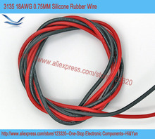 4meters/lot 18AWG 0.75MM 3135 Silicone Rubber Wire Cable 600V 200 Celsius Electrical Red 2 Meters Black 2 Meters