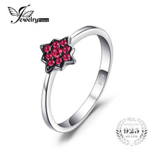 JewelryPalace Fashion Flowers Created Ruby Rings 100% Real 925 Sterling-Silver-Jewelry For Women Charms Party Accessories 2017(China)