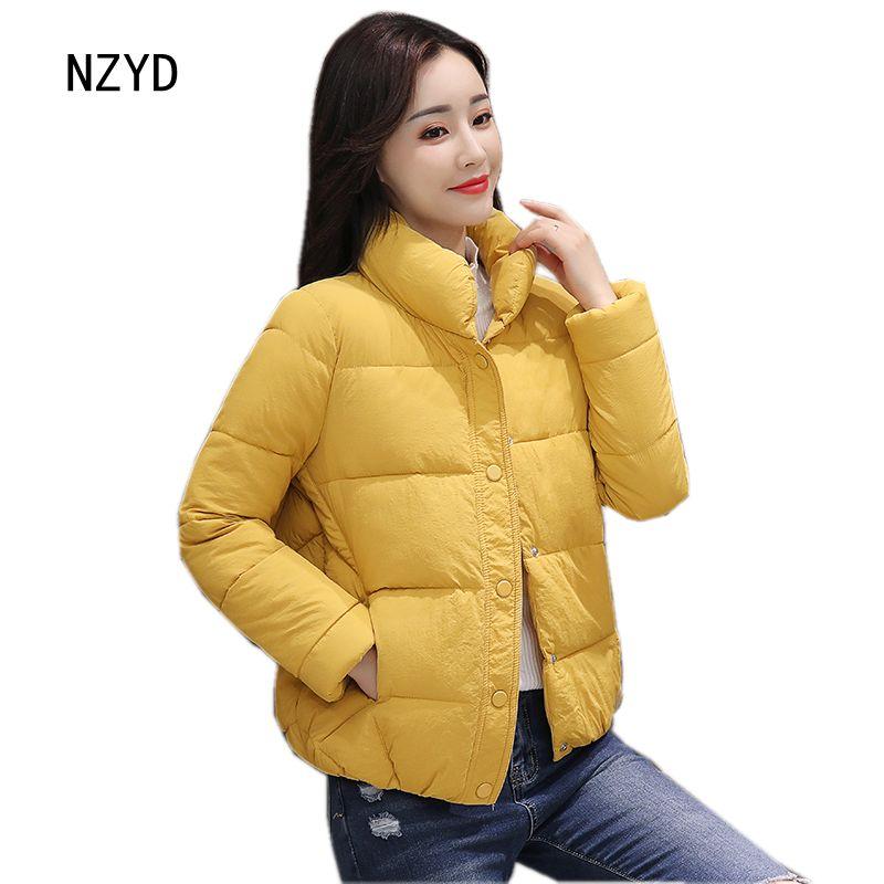 Winter Women Short Jacket 2017 New Fashion Stand collar Solid color Cotton Coat Long sleeve Loose Big yards Parkas LADIES291Îäåæäà è àêñåññóàðû<br><br>