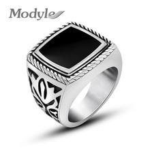 Modyle Stainless Steel Ring For Men Women Punk Retro Ring Silver-Color Band Jewelry Custom Accessories