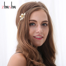 Beautiful Women Fashion Gold color  Leaf & Flower Headband Head Chain Hair Jewelry New For Friendship Gift Free Shipping
