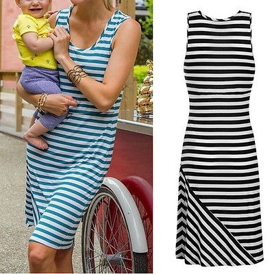 2017 Summer Women Lactation dress Dress Striped Maxi Bodycon Pencil Dress Size S-XL