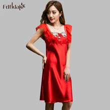 Luxurious nightdress sleepwear summer dresses for women nightgown female casual night shirts indoor clothing sleepshirts Q795(China)