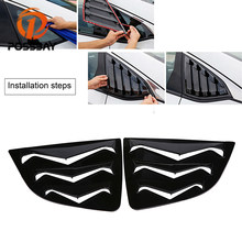 POSSBAY Car Rear Quarter Window Louver for Honda Fit/Jazz Hatchback 2014-present Carbon Fiber ABS Window Sticker Sun Shade Cover(China)
