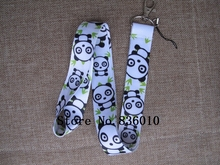 Hot Sale! 10 pcs Popular Bamboo Panda  Key Chains Mobile Cell Phone Lanyard Neck Straps Children  Favors SZ-127