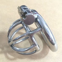 Buy Latest design stainless steel small male chastity cage cock rings cock cage penis ring male chastity device penis lock man