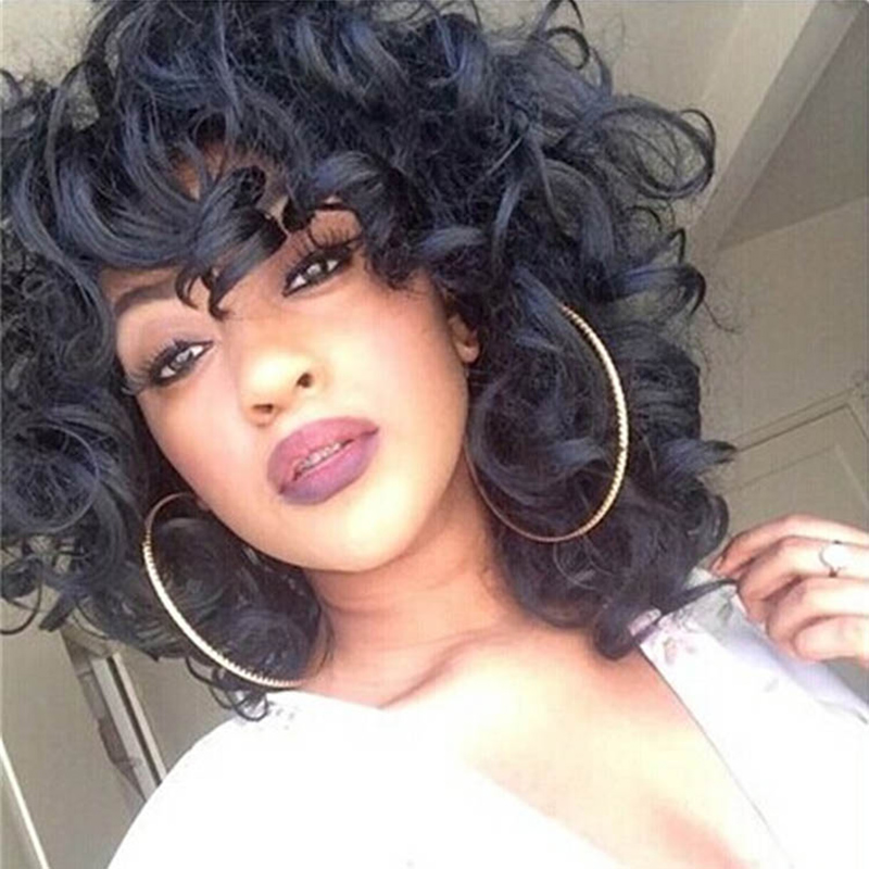 Womens Short Curly Wig For Black Women African American Short Bob Hairstyles Cheap Synthetic Natural Black Wig Afro Pelucas<br><br>Aliexpress